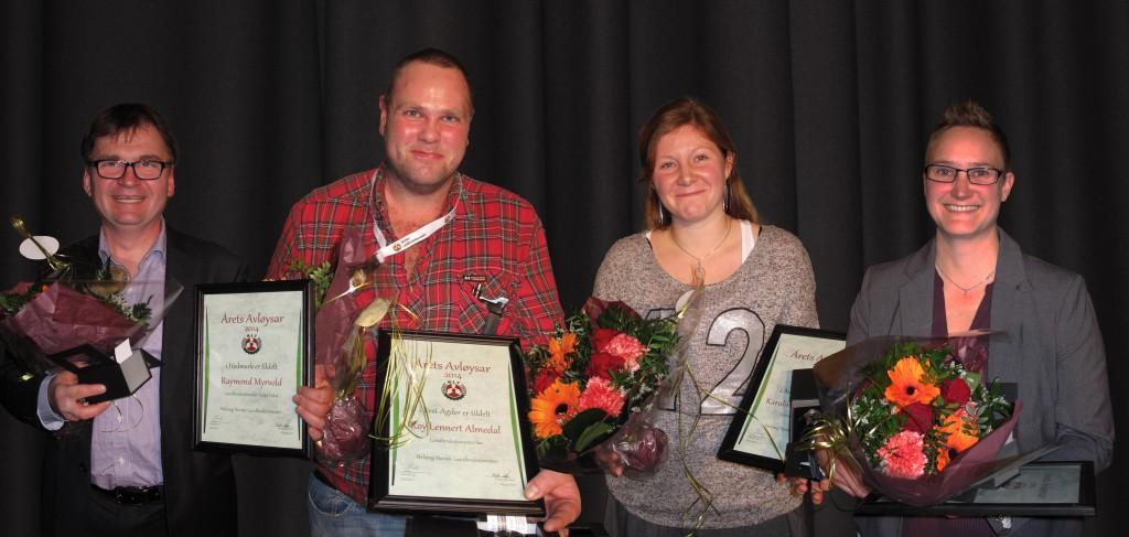 Årets Avløysarar i Sør. Frå venstre: Raymond Myrvold, Roy Lennert Almedal, Karoline Klokkhammer og Ann Kathrin Pedersen. Kjell Vangen og Terje Skåre var ikkje tilstade.